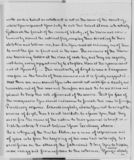 Henry Tredeman to Abraham Lincoln, Thursday, June 25, 1863  (Writes on behalf of General Sigel)