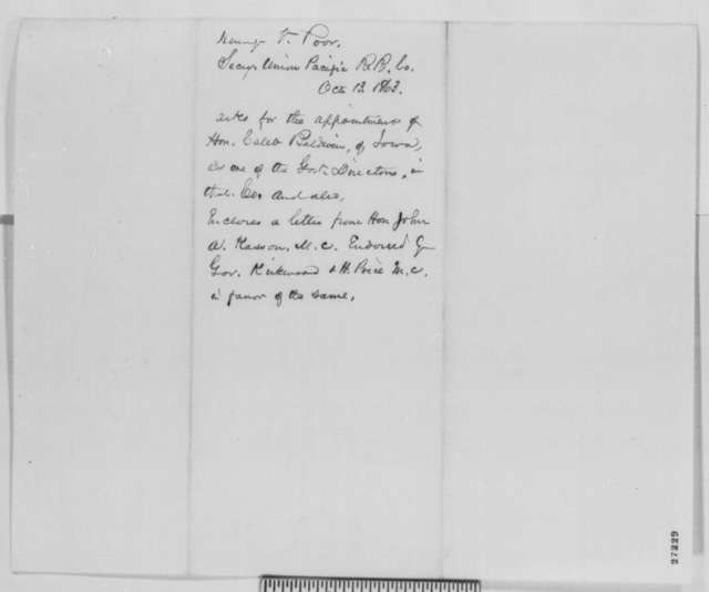 Henry V. Poor to Abraham Lincoln, Tuesday, October 13, 1863  (Recommendation for Caleb Baldwin)