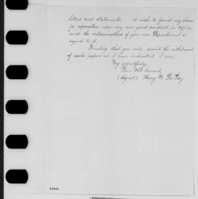 Henry W. DePuy to John P. Usher, Saturday, June 20, 1863  (Seeks reinstatement as agent to the Pawnee)