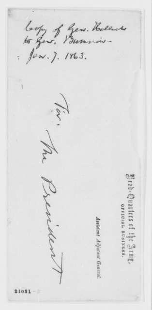 Henry W. Halleck to Ambrose Burnside, Wednesday, January 07, 1863  (Crossing the Rappahannock River)
