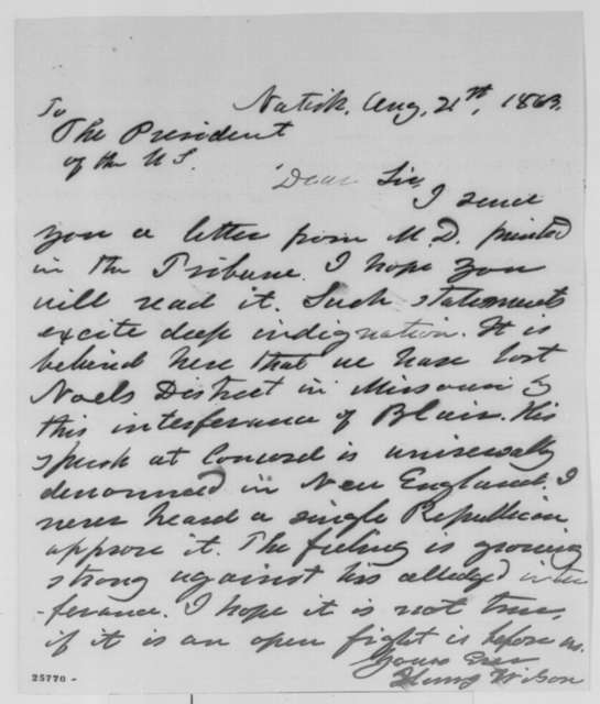Henry Wilson to Abraham Lincoln, Friday, August 21, 1863  (Sends clipping concerning Montgomery Blair)