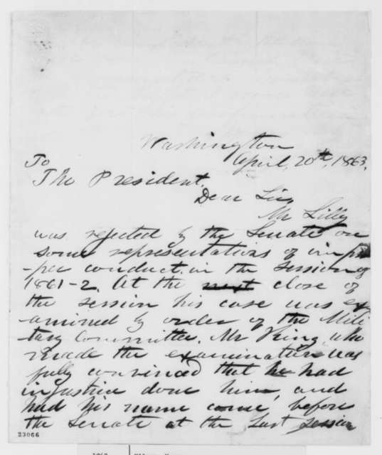 Henry Wilson to Abraham Lincoln, Monday, April 20, 1863  (Rejection of William Lilley by the Senate)