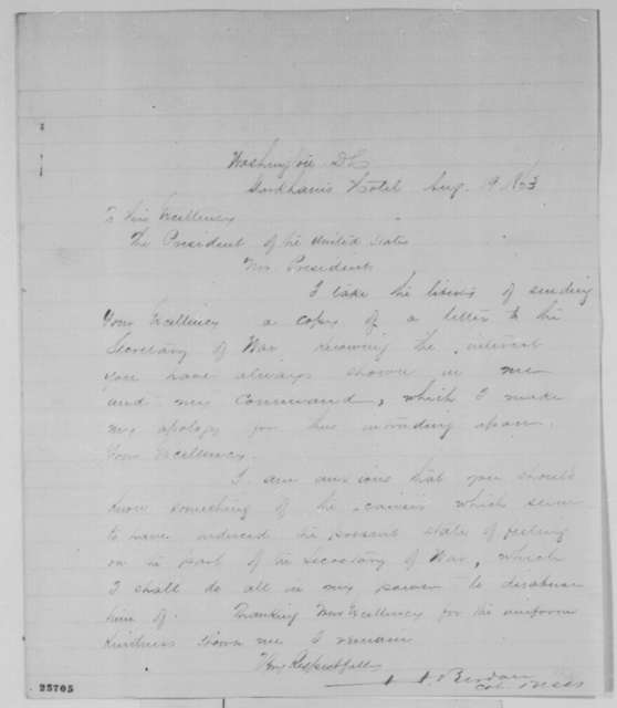 Hiram Berdan to Abraham Lincoln, Wednesday, August 19, 1863  (Cover letter)