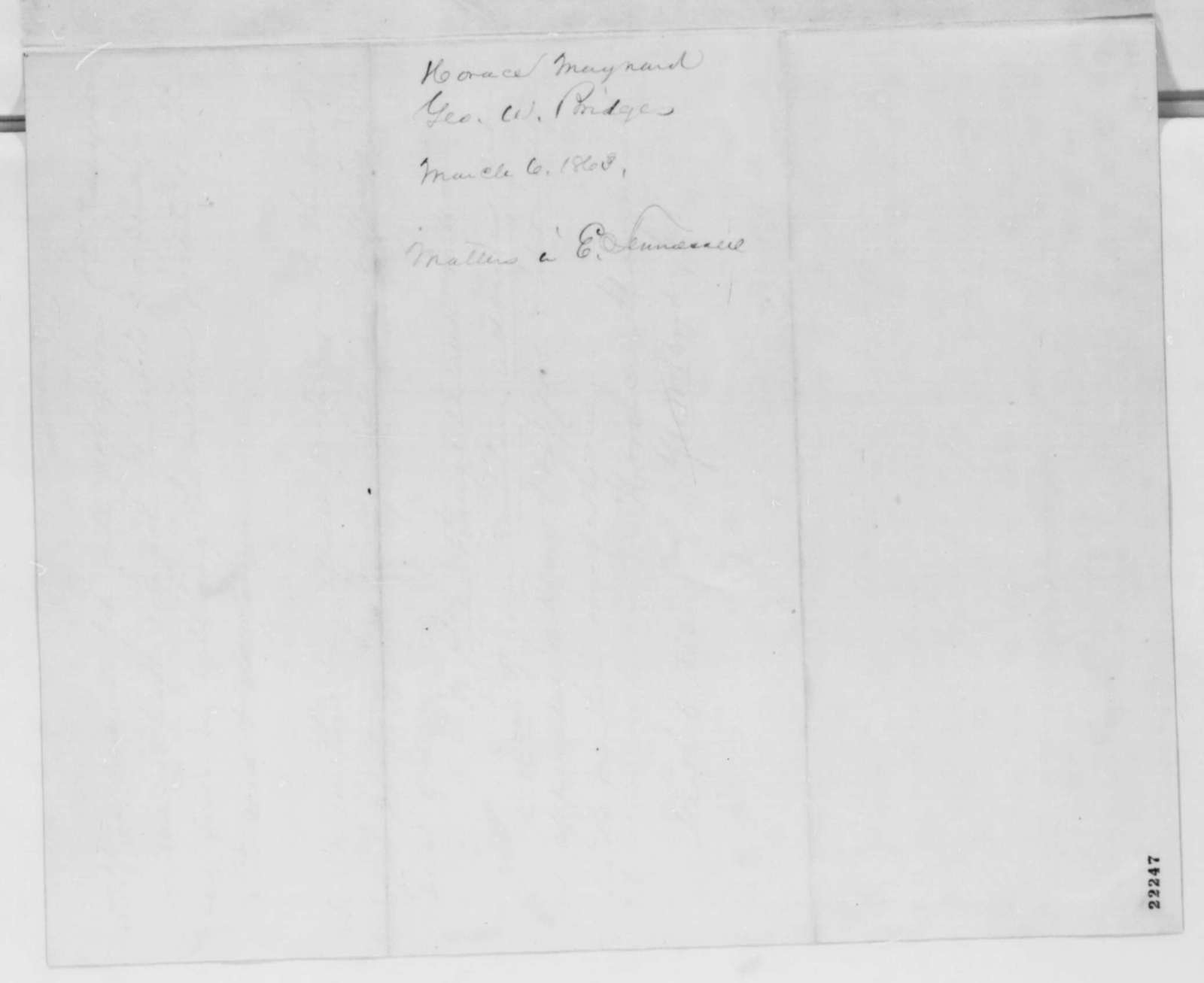 Horace Maynard and George W. Bridges to Abraham Lincoln, Friday, March 06, 1863  (Recommendations concerning East Tennessee)