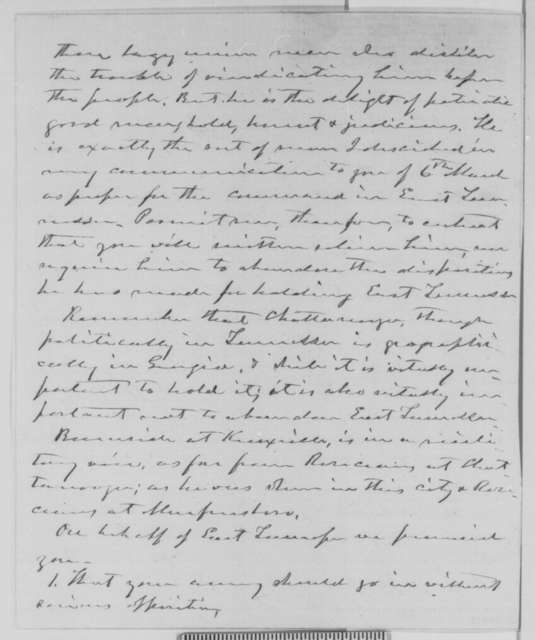 Horace Maynard to Abraham Lincoln, Monday, September 28, 1863  (Affairs in East Tennessee)