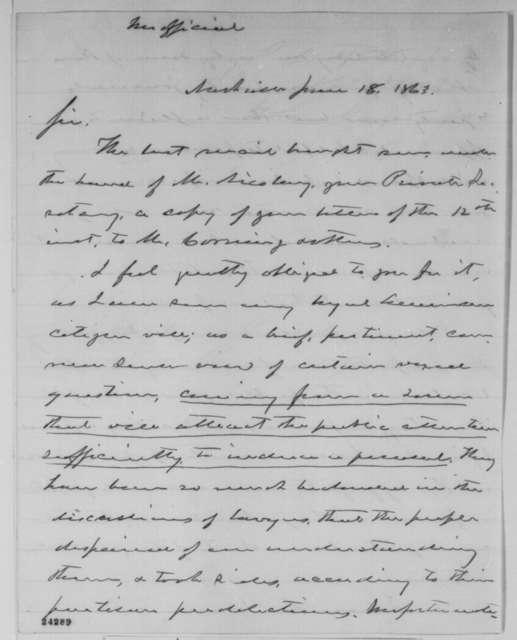 Horace Maynard to Abraham Lincoln, Thursday, June 18, 1863  (Lincoln's letter to Erastus Corning)