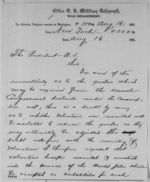 Horatio Seymour to Abraham Lincoln, Sunday, August 16, 1863  (Telegram concerning conscription in New York)