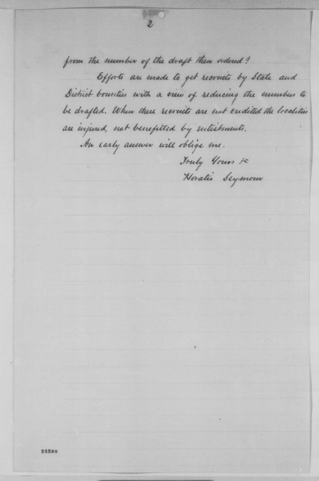 Horatio Seymour to James B. Fry, Wednesday, August 12, 1863  (Military recruitment in New York)