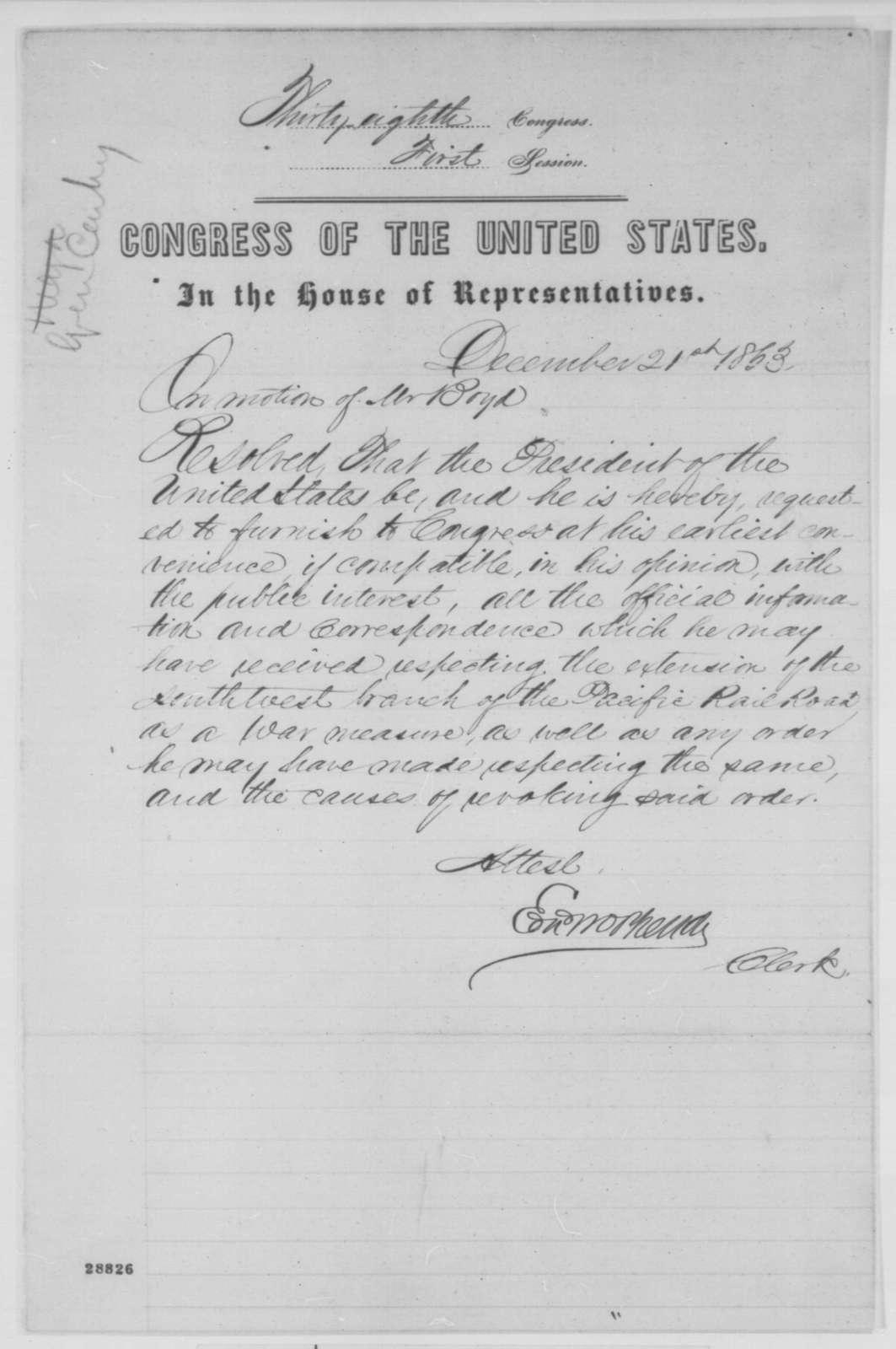 House of Representatives, Monday, December 21, 1863  (Resolution; endorsed by John G. Nicolay, et al.)