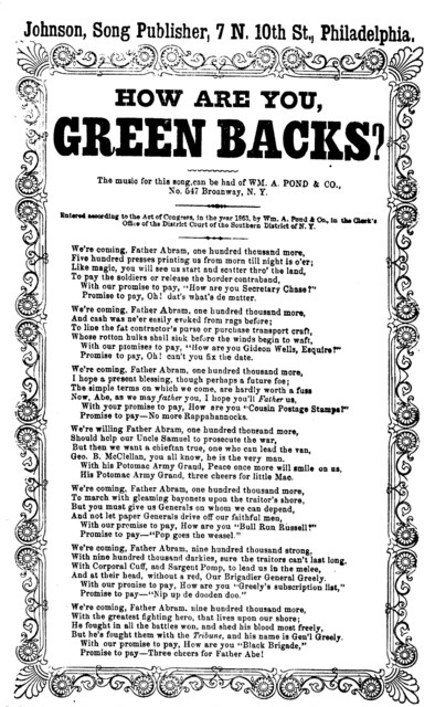 How are you green backs? Johnson, Publisher of songs, ... Phila. [c. 1863]