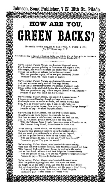 How are you, green backs? Johnson, Song Publisher, ... Phila. [c. 1863]