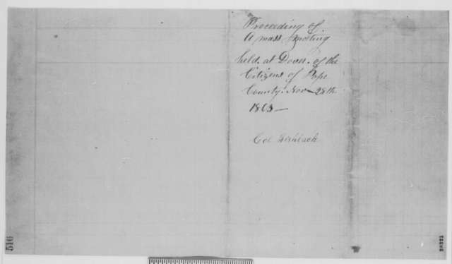 Hugh Taylor and A. McGee, Saturday, November 28, 1863  (Resolutions from Union mass meeting at Pope County, Arkansas)