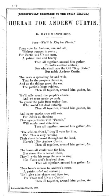 Hurrah for Andrew Curtin. By Kate Moncrieff. Phila., Oct. 5, 1863