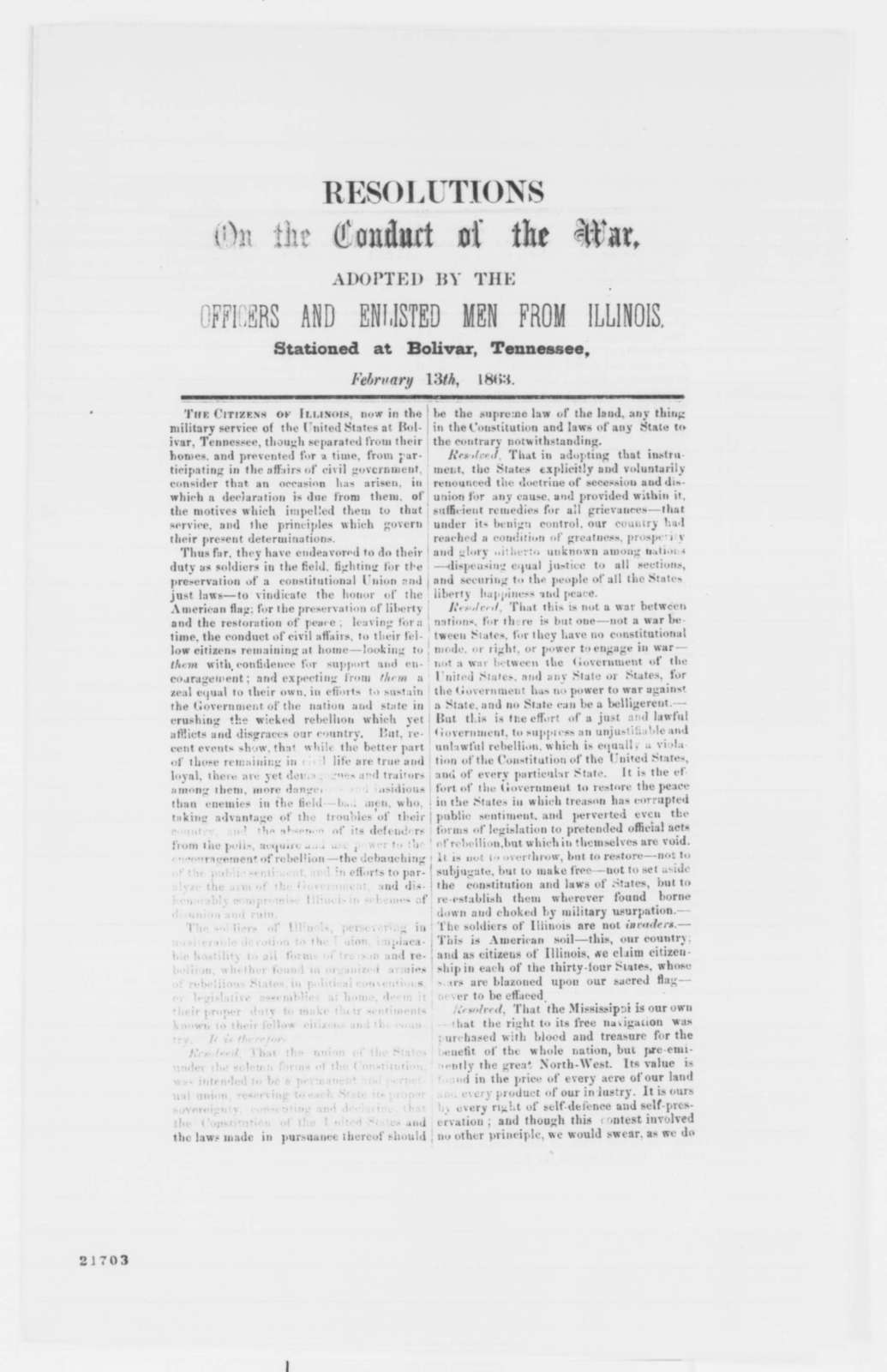 Illinois Troops at Bolivar, Tennessee, Friday, February 13, 1863  (Printed Resolutions)