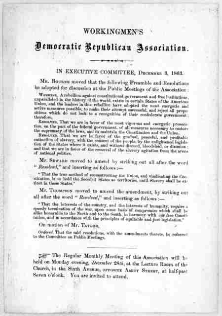 In Executive committee December 3, 1863. [Minutes] [New York, 1863].