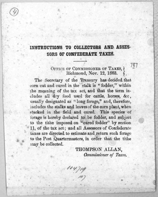Instructions to collectors and assessors of Confederate taxes. Richmond, Nov. 12, 1863.