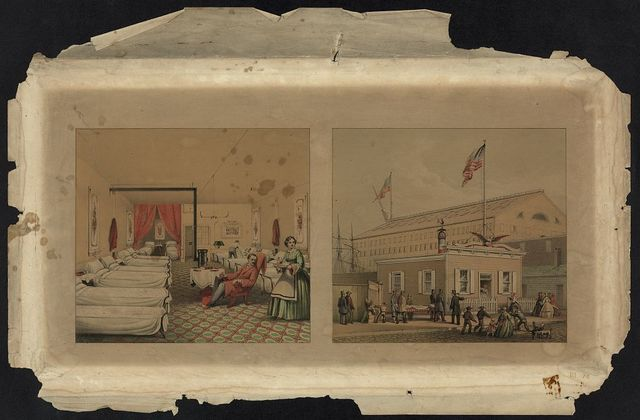[Interior and exterior views of the Union Volunteer Refreshment Saloon hospital, southwest corner of Washington and Swanson avenues, Philadelphia]