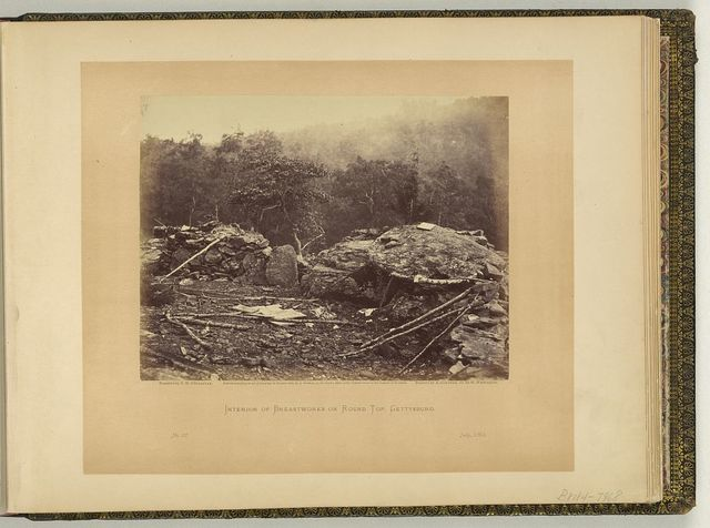 Interior of breastworks on Round Top, Gettysburg / negative by T.H. O'Sullivan; positive by A Gardner.