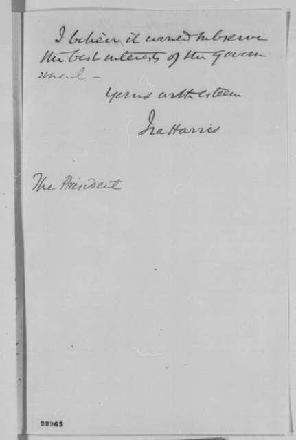 Ira Harris to Abraham Lincoln, Monday, April 13, 1863  (Failure to confirm John M. Schofield)