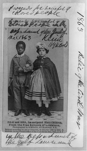 Isaac and Rosa, emancipated slave children from the free schools of Louisiana