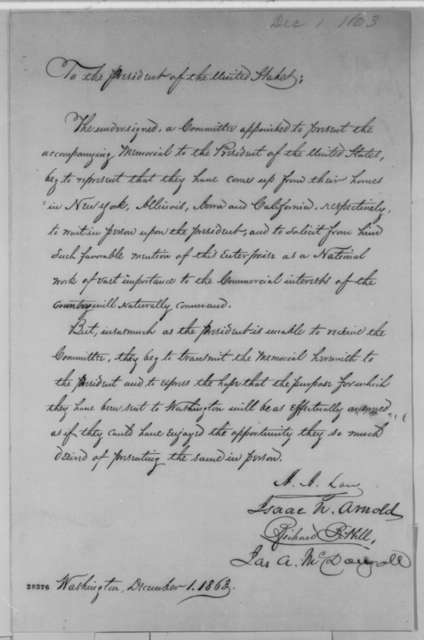 Isaac N. Arnold, et al. to Abraham Lincoln, Tuesday, December 01, 1863  (Present petition)