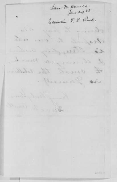 Isaac N. Arnold to Abraham Lincoln, Wednesday, June 24, 1863  (Introduces L.L. Bond)