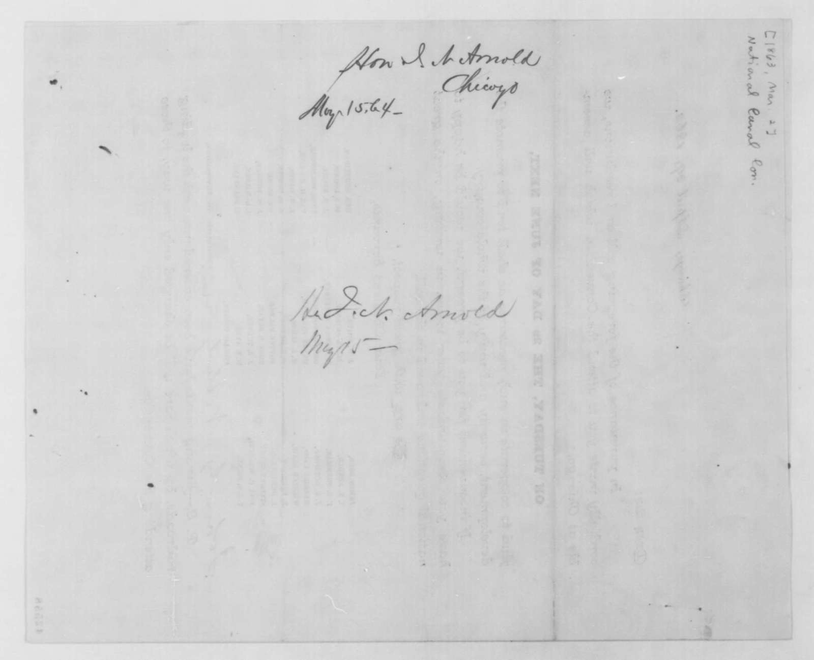 Isaac N. Arnold to John G. Nicolay, Friday, May 15, 1863  (Convention on canals)