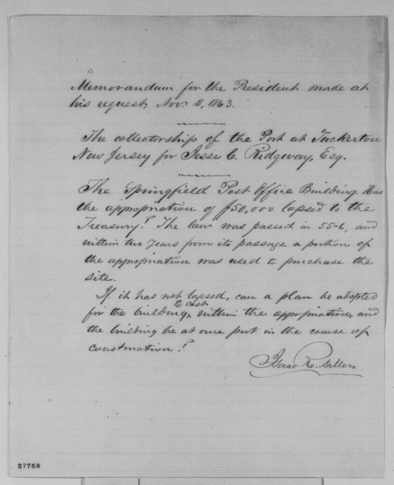 Isaac R. Diller to Abraham Lincoln, Monday, November 02, 1863  (Memorandum on Springfield post office building)