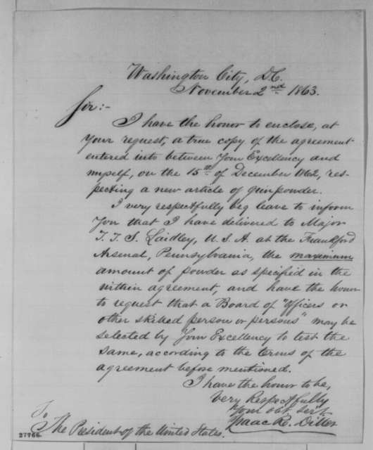 Isaac R. Diller to Abraham Lincoln, Monday, November 02, 1863  (Sends copy of agreement to manufacture gunpowder; endorsed by Lincoln on cover)