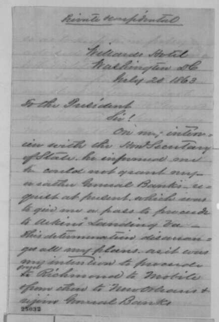 Isachar Zacharie to Abraham Lincoln, Monday, July 20, 1863  (Seeks permission to visit General Banks)