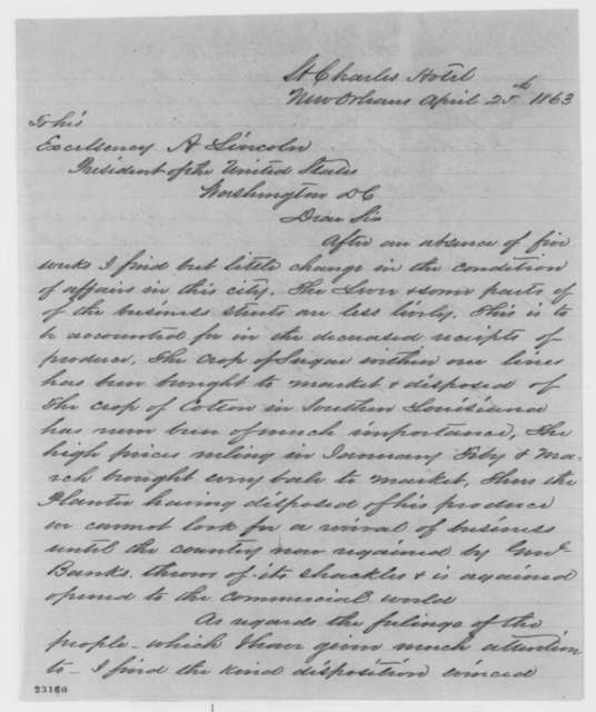 Isachar Zacharie to Abraham Lincoln, Saturday, April 25, 1863  (Situation in New Orleans)