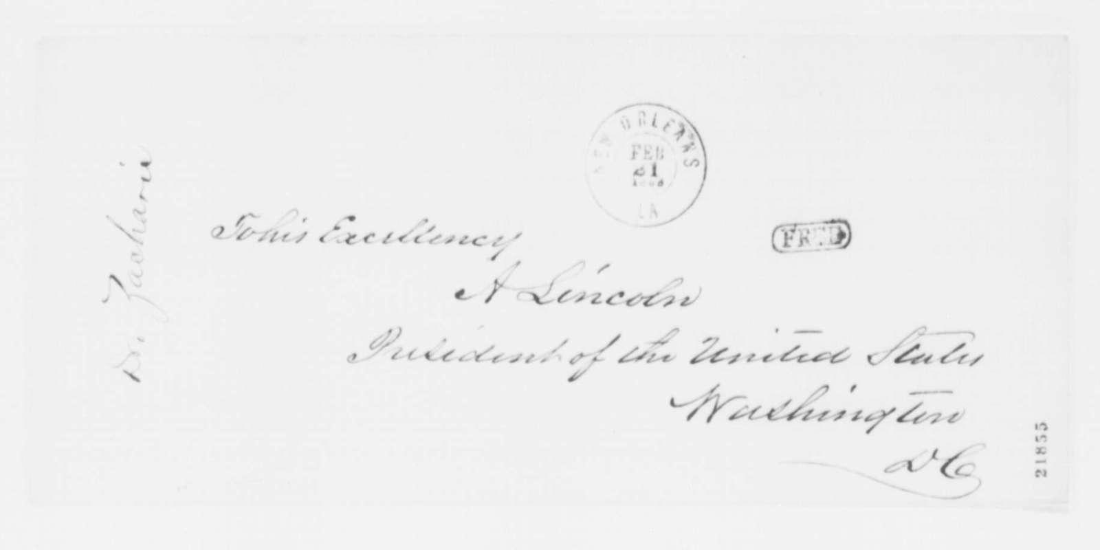 Isachar Zacharie to Abraham Lincoln, Thursday, February 19, 1863  (Public sentiment in Louisiana)