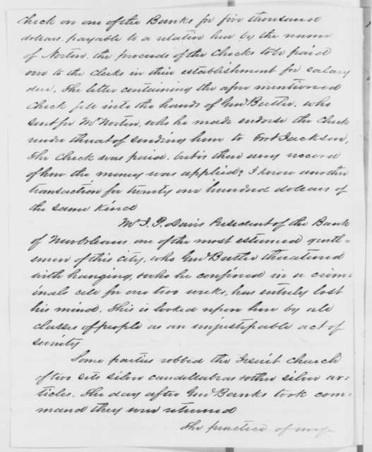 Isachar Zacharie to Abraham Lincoln, Wednesday, January 14, 1863  (Account of General Butler's conduct while in command at New Orleans)