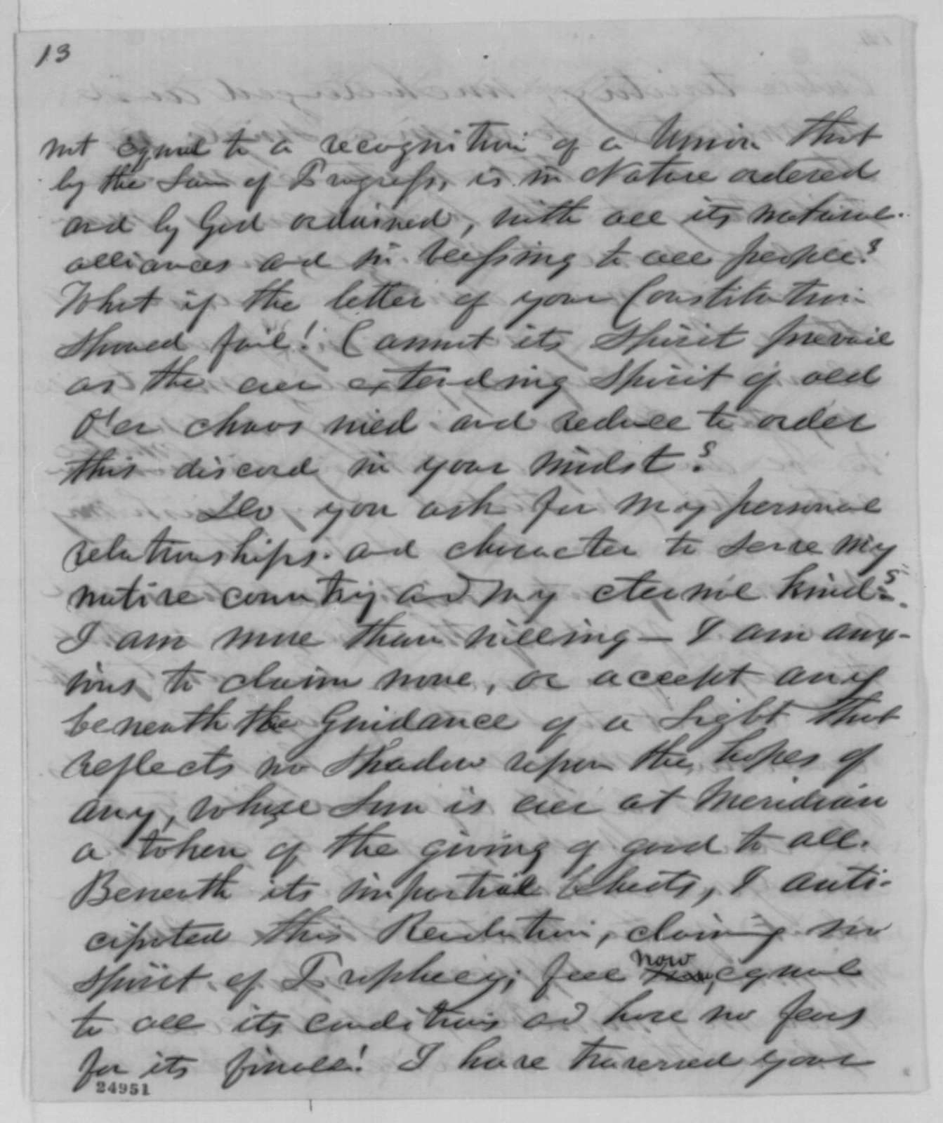 J. B. Ferguson to Abraham Lincoln, Friday, July 17, 1863  (Seeks end to the war)
