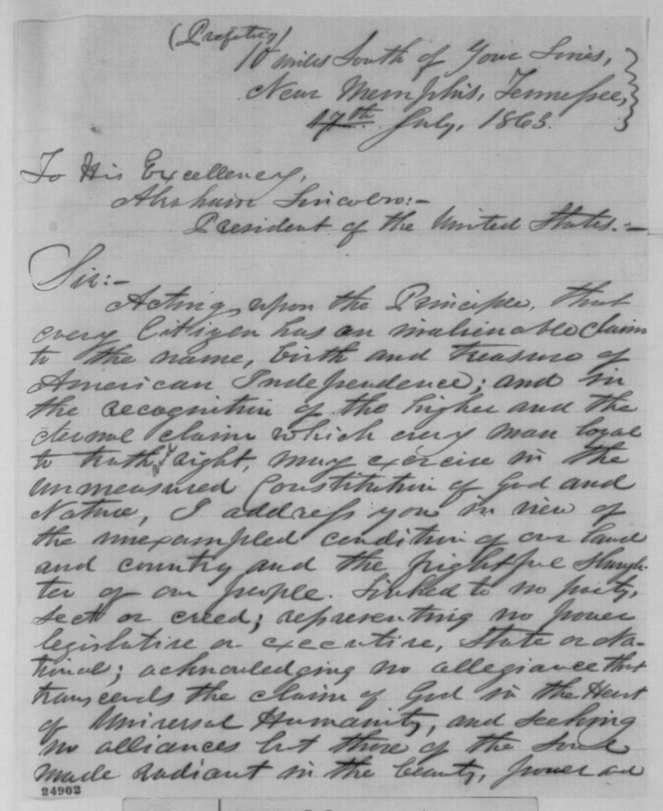 J. B. Ferguson to Abraham Lincoln, Friday, July 17, 1863  (Thoughts on the war)