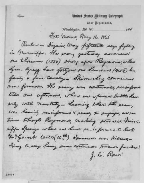 J. C. Rowe to Abraham Lincoln, Saturday, May 16, 1863  (News from Richmond papers regarding military affairs in Mississippi; copy in Lincoln's hand)