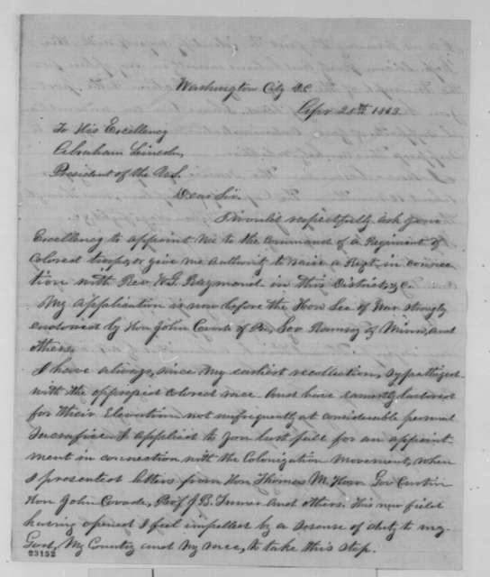 J. D. Turner to Abraham Lincoln, Saturday, April 25, 1863  (Seeks commission as officer in a black regiment; endorsed by James Mitchel and J. Van Santoon)