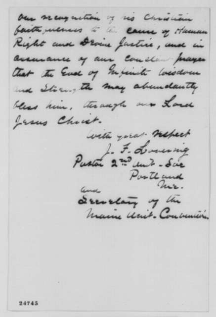 J. F. Lovering to Abraham Lincoln, Friday, July 10, 1863  (Sends resolutions from Maine Unitarian Societies)