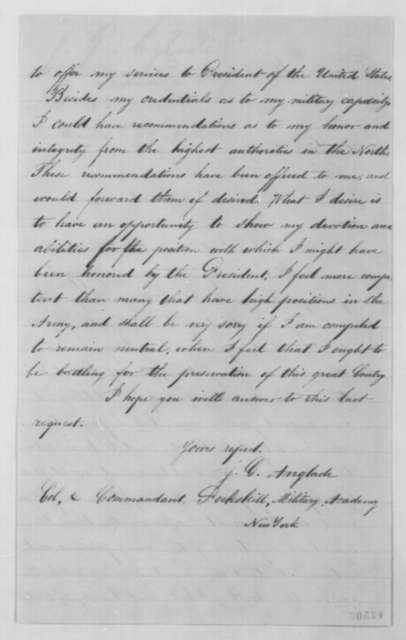 J. G. Anglade to John G. Nicolay, Saturday, March 21, 1863  (Seeks military commission)