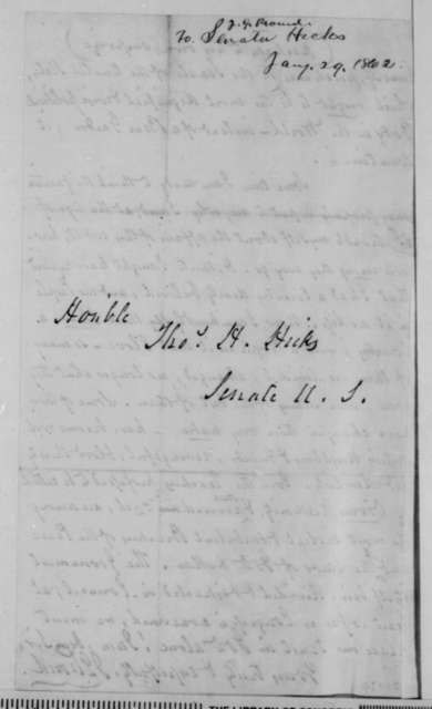 J. G. Proud to Thomas H. Hicks, Thursday, January 29, 1863  (Thoughts on current affairs)