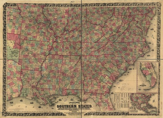 J. H. Colton's map of the southern states. Maryland, Delaware, Virginia, Kentucky, Tennessee, Missouri, North Carolina, South Carolina, Georgia, Alabama, Mississippi, Arkansas, Louisiana and Texas. Showing also part of adjoining states & territories locating the forts & military stations of the U. States & showing all the rail roads, r. r. stations, & other internal improvements.