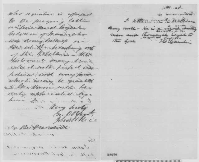 J. Harriman to Cornadon Harwood, Monday, December 14, 1863  (Introduces W. N. Harris; includes introductions from John H. Rice and Hannibal Hamlin)