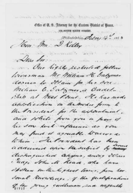 J. Hubley Ashton and George A. Coffey to William D. Kelley, Saturday, February 14, 1863  (West Point appointment)