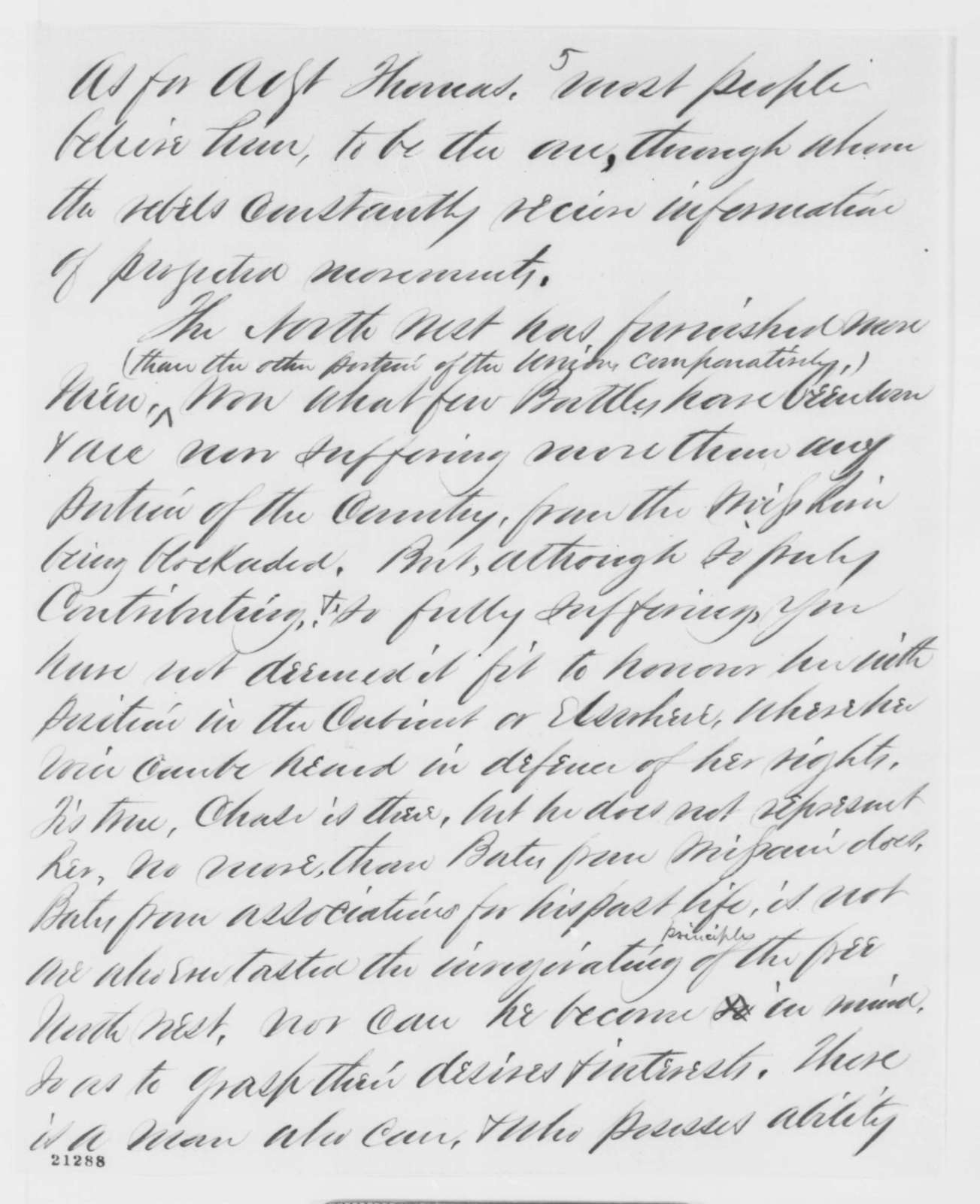J. J. Richards to Abraham Lincoln, Wednesday, January 21, 1863  (Cabinet advice)
