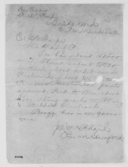 J. L. McPhail to George H. Sharpe, Tuesday, December 01, 1863  (Telegram reporting strength of Confederate army)