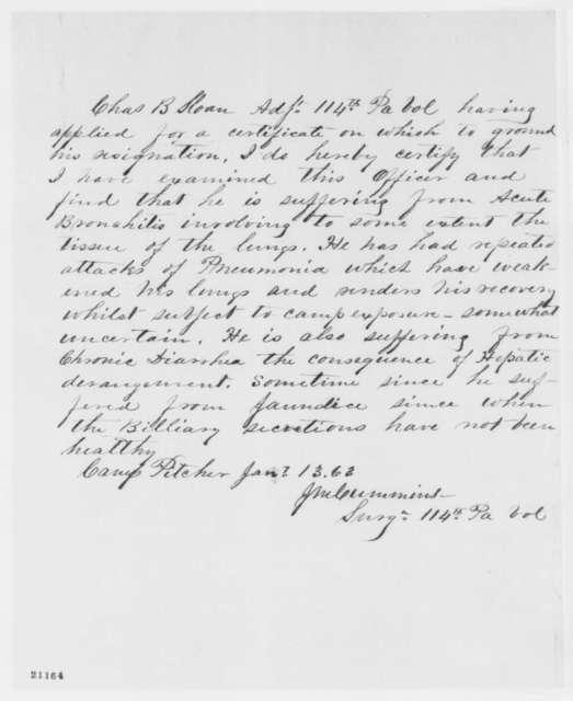 J. M. Cummins, Tuesday, January 13, 1863  (Certifies poor health of Charles B. Sloan)
