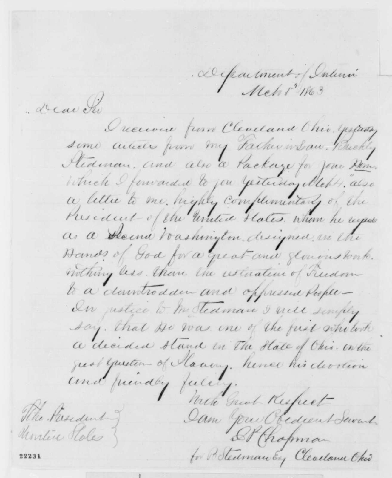 J. P. Chapman to Abraham Lincoln, Thursday, March 05, 1863  (Cover letter)