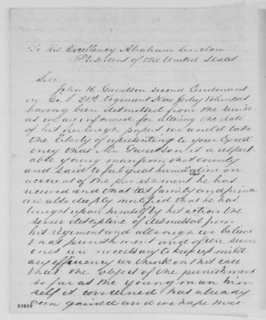 J. W. Scudder, et al. to Abraham Lincoln, April 1863  (Petition on behalf of John H. Garretson)