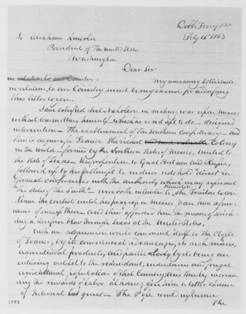 James A. Hamilton to Abraham Lincoln, Monday, February 16, 1863  (French intervention in Mexico)