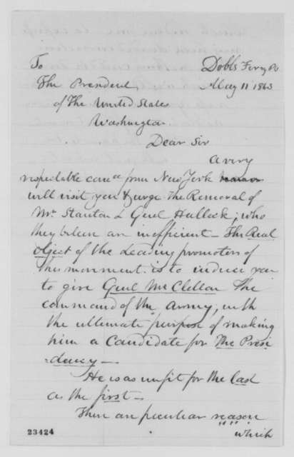 James A. Hamilton to Abraham Lincoln, Monday, May 11, 1863  (Ambitions of General McClellan and his supporters)